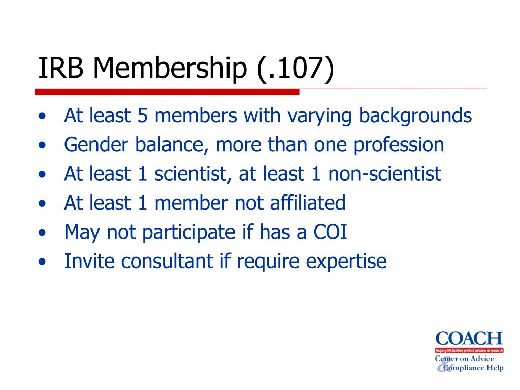 IRB Membership (.107)