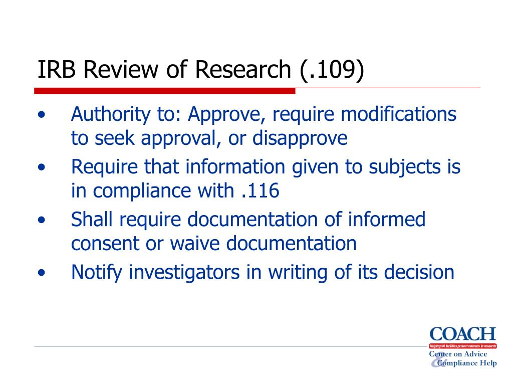 IRB Review of Research (.109)