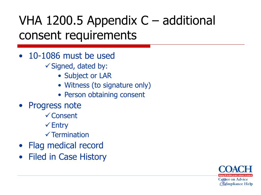 VHA 1200.5 Appendix C – additional consent requirements