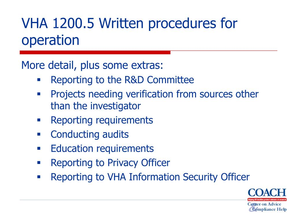 VHA 1200.5 Written procedures for operation