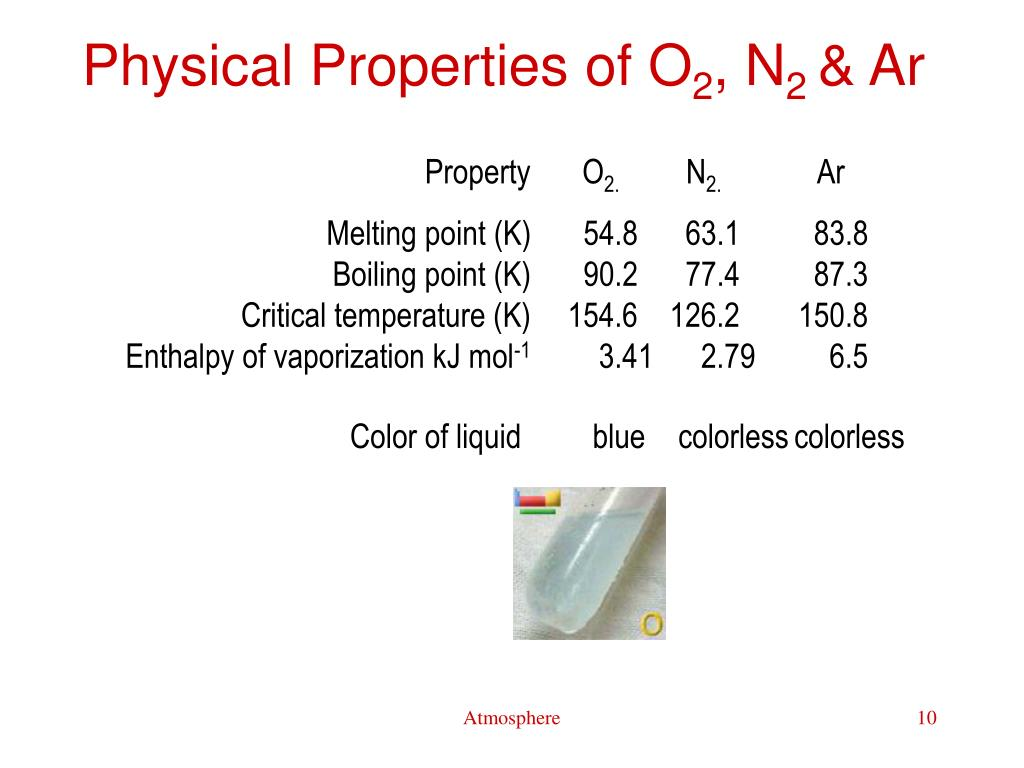 Physical Properties of O