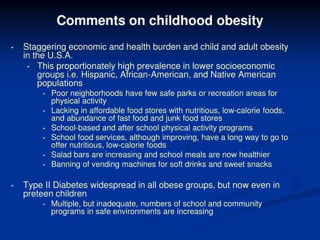 Comments on childhood obesity