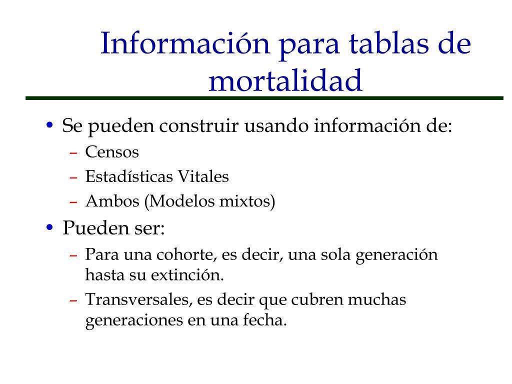 Información para tablas de mortalidad