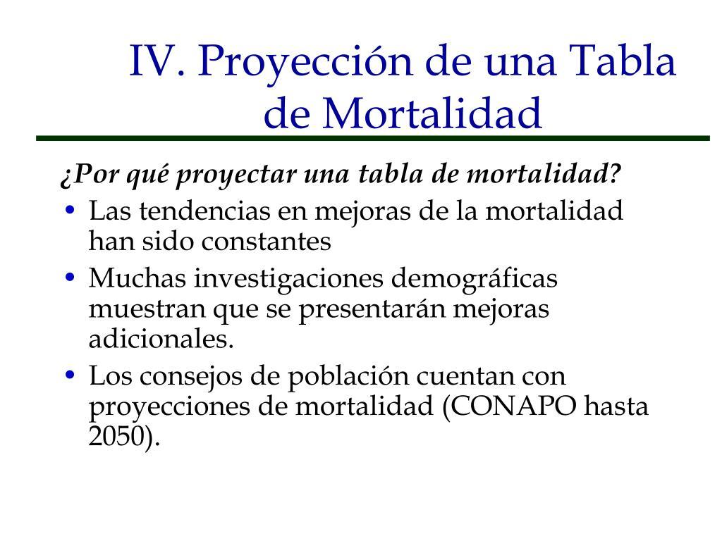 IV. Proyección de una Tabla de Mortalidad