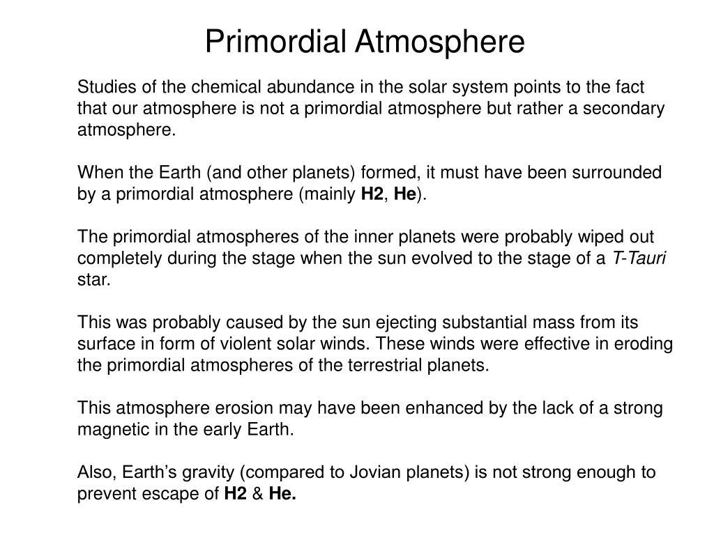 Primordial Atmosphere