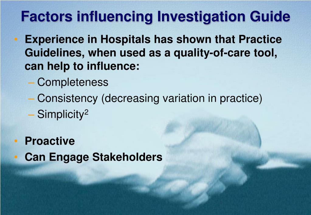 Factors influencing Investigation Guide