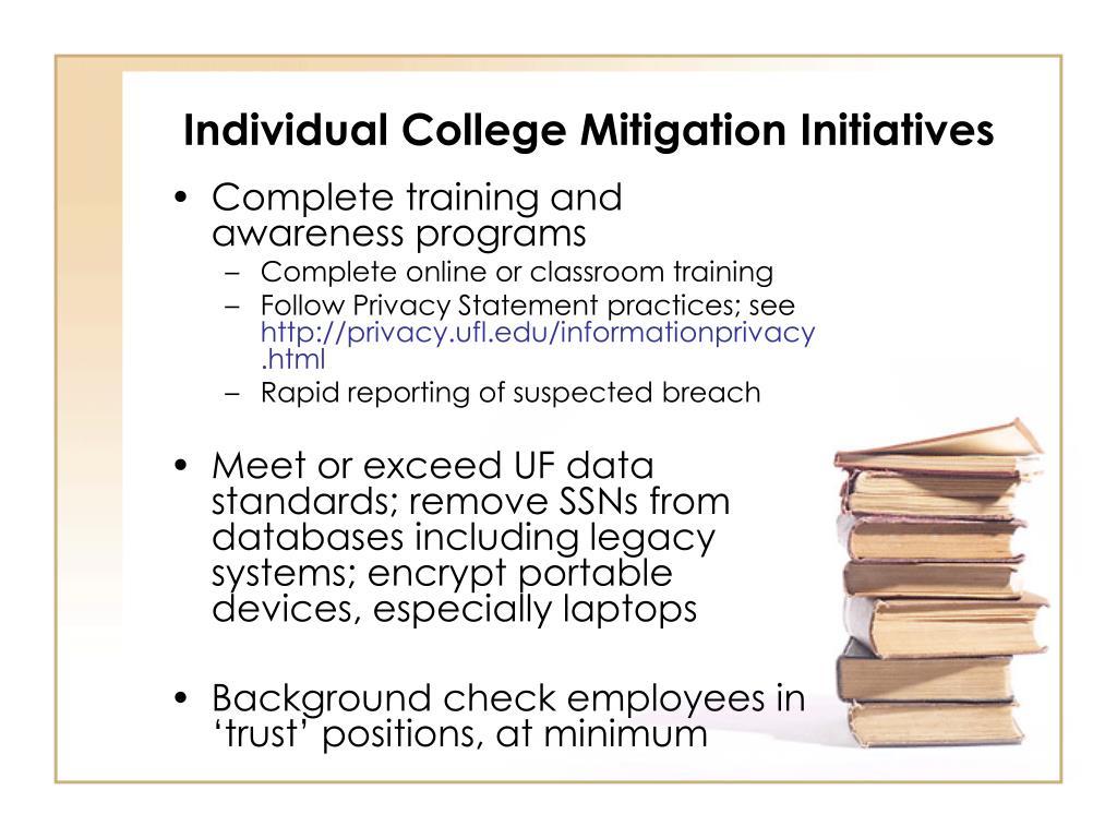 Individual College Mitigation Initiatives