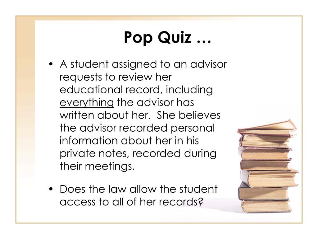 Pop Quiz …