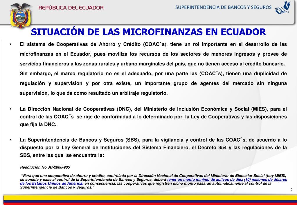 SITUACIÓN DE LAS MICROFINANZAS EN ECUADOR
