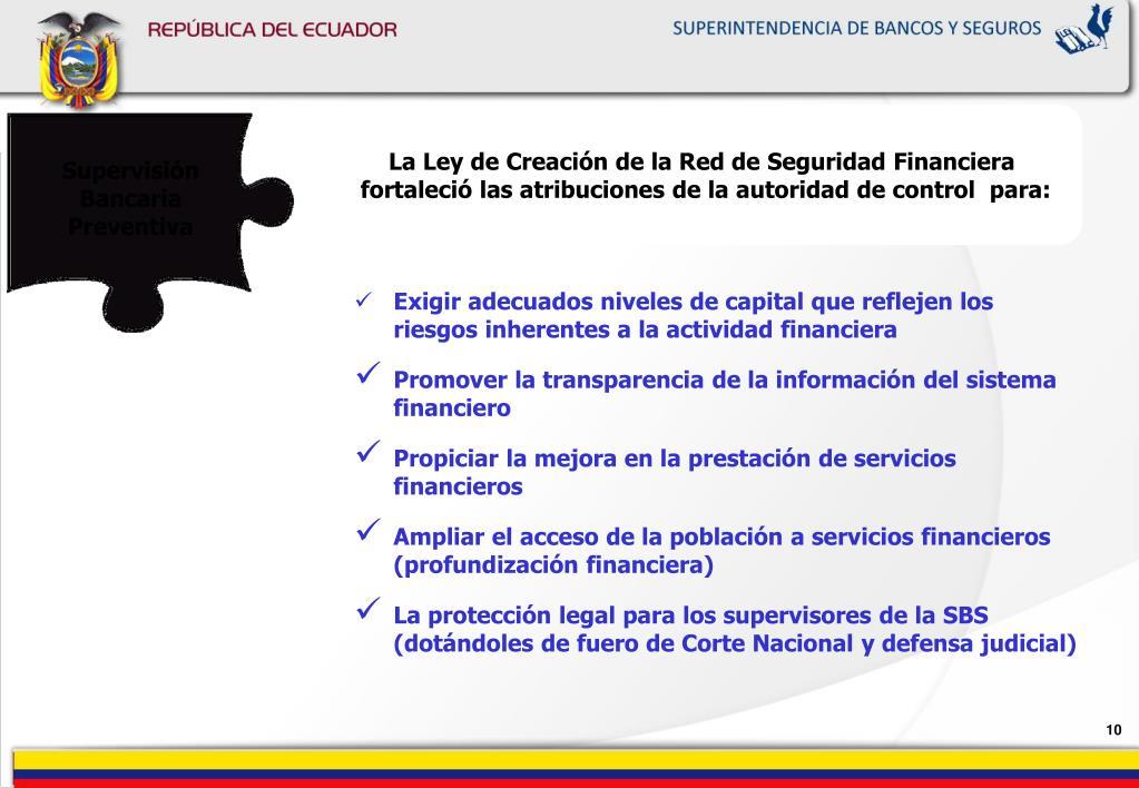 La Ley de Creación de la Red de Seguridad Financiera