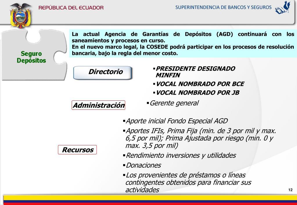 La actual Agencia de Garantías de Depósitos (AGD) continuará con los saneamientos y procesos en curso.