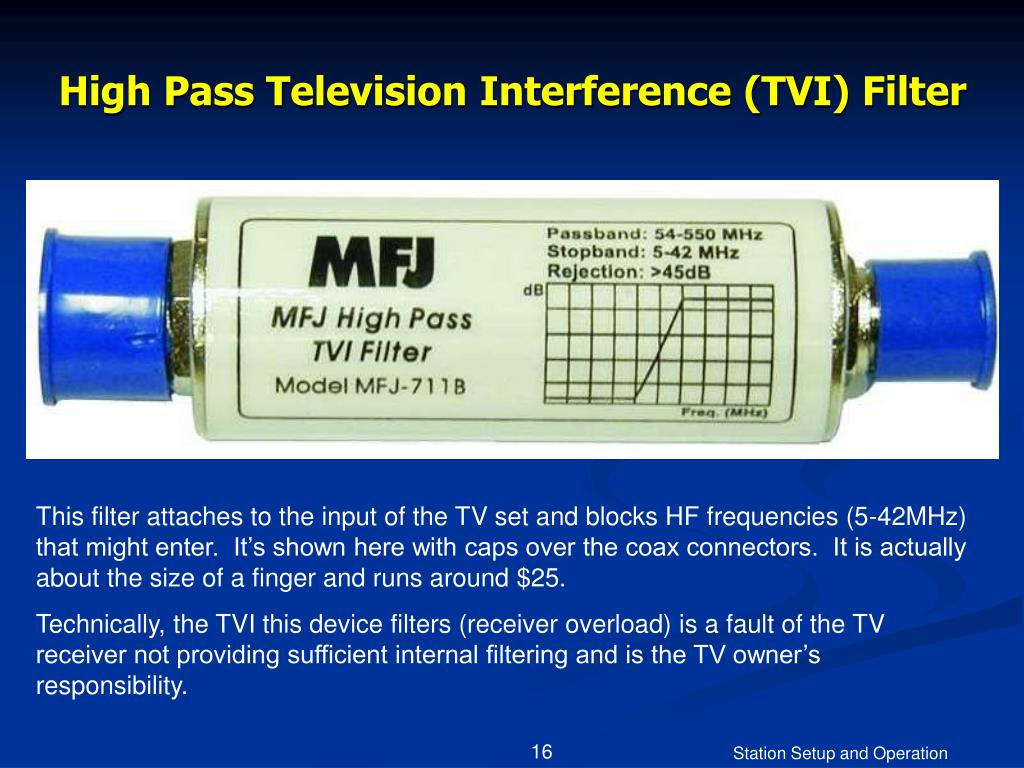 High Pass Television Interference (TVI) Filter