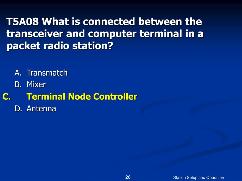 T5A08 What is connected between the transceiver and computer terminal in a packet radio station?