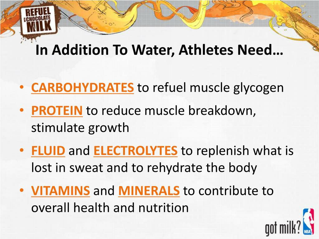 In Addition To Water, Athletes Need…