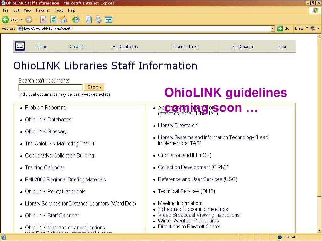 OhioLINK guidelines coming soon …
