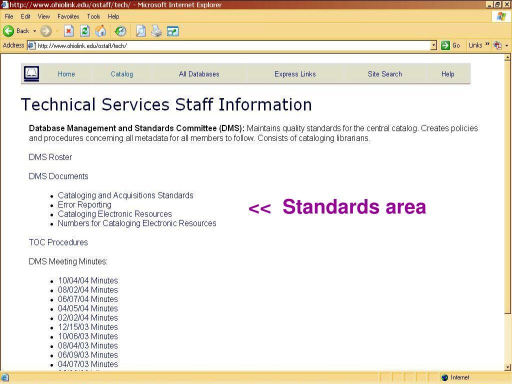 <<  Standards area
