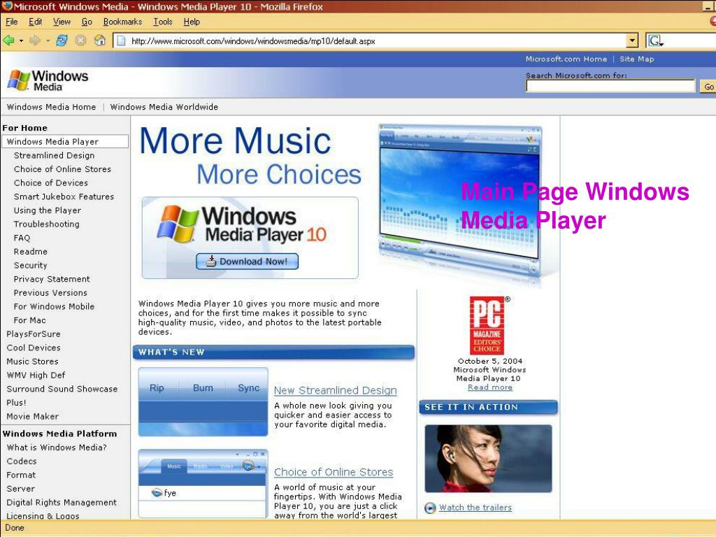 Main Page Windows Media Player
