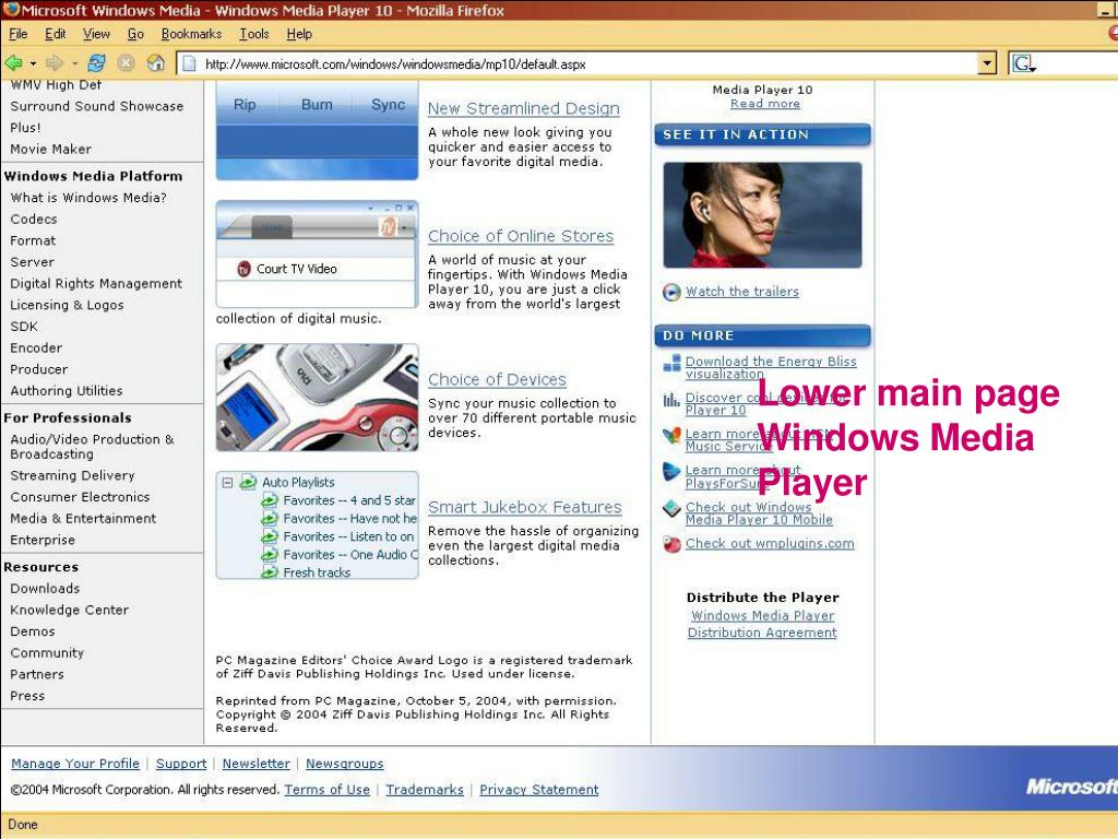 Lower main page Windows Media Player