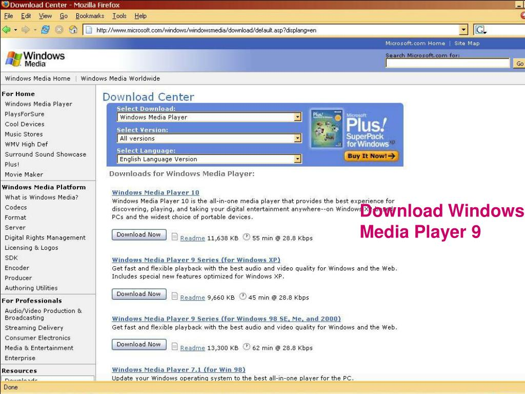 Download Windows Media Player 9