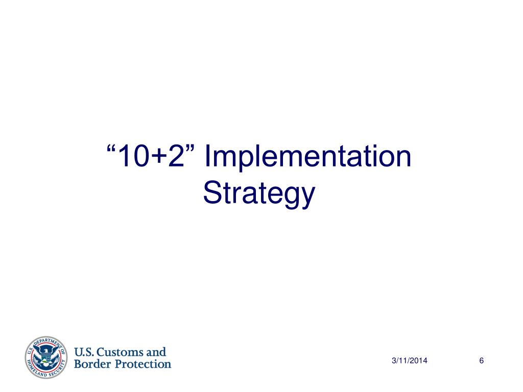 """10+2"" Implementation Strategy"