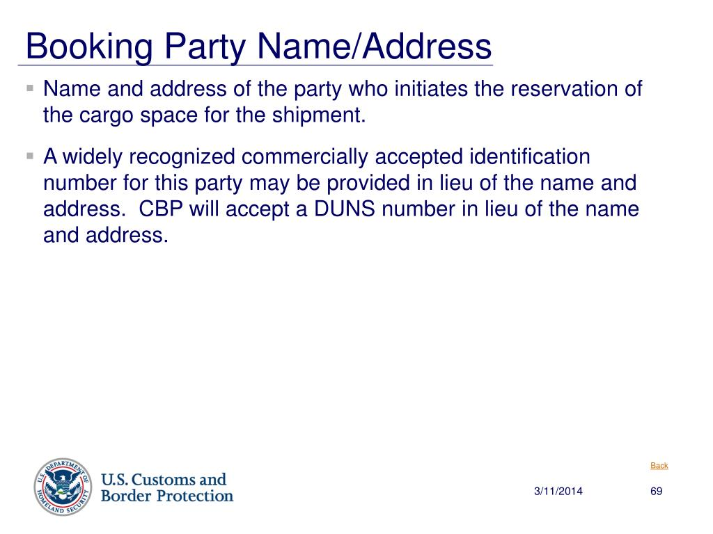 Booking Party Name/Address