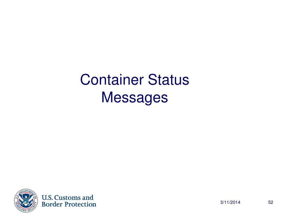 Container Status Messages