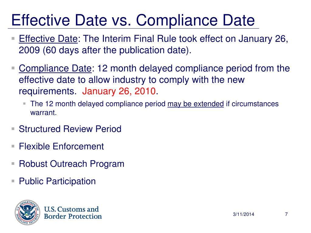 Effective Date vs. Compliance Date
