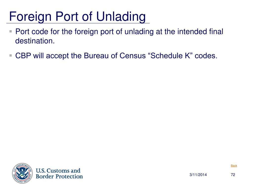 Foreign Port of Unlading