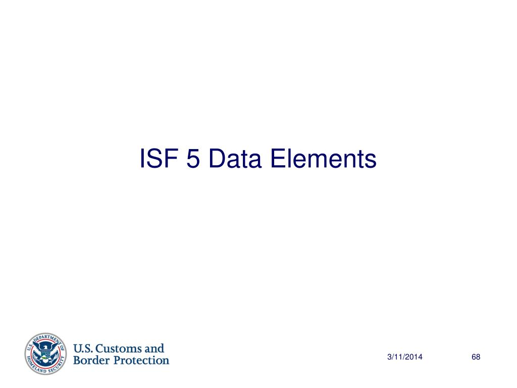ISF 5 Data Elements