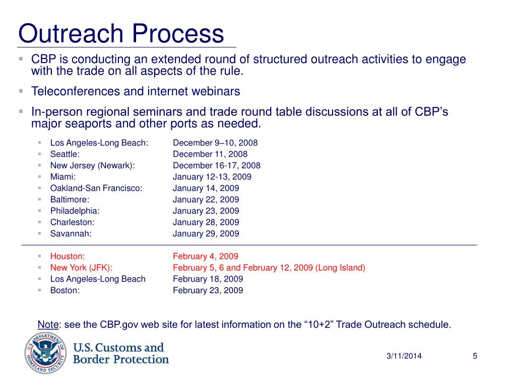 CBP is conducting an extended round of structured outreach activities to engage with the trade on all aspects of the rule.
