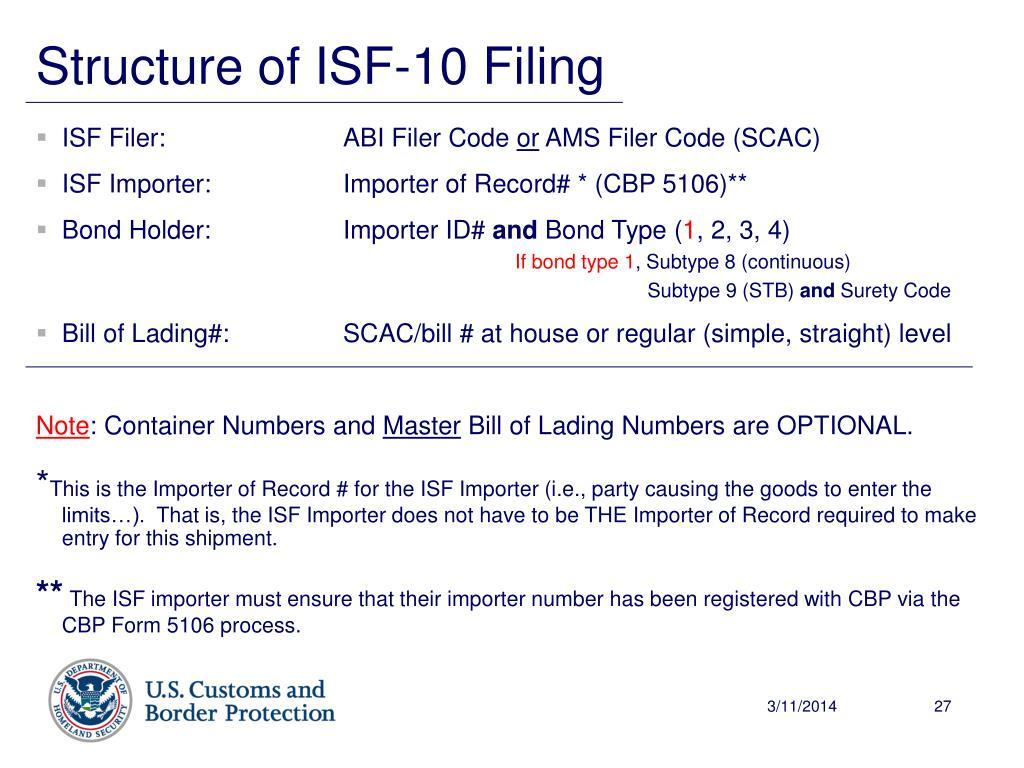 ISF Filer: ABI Filer Code