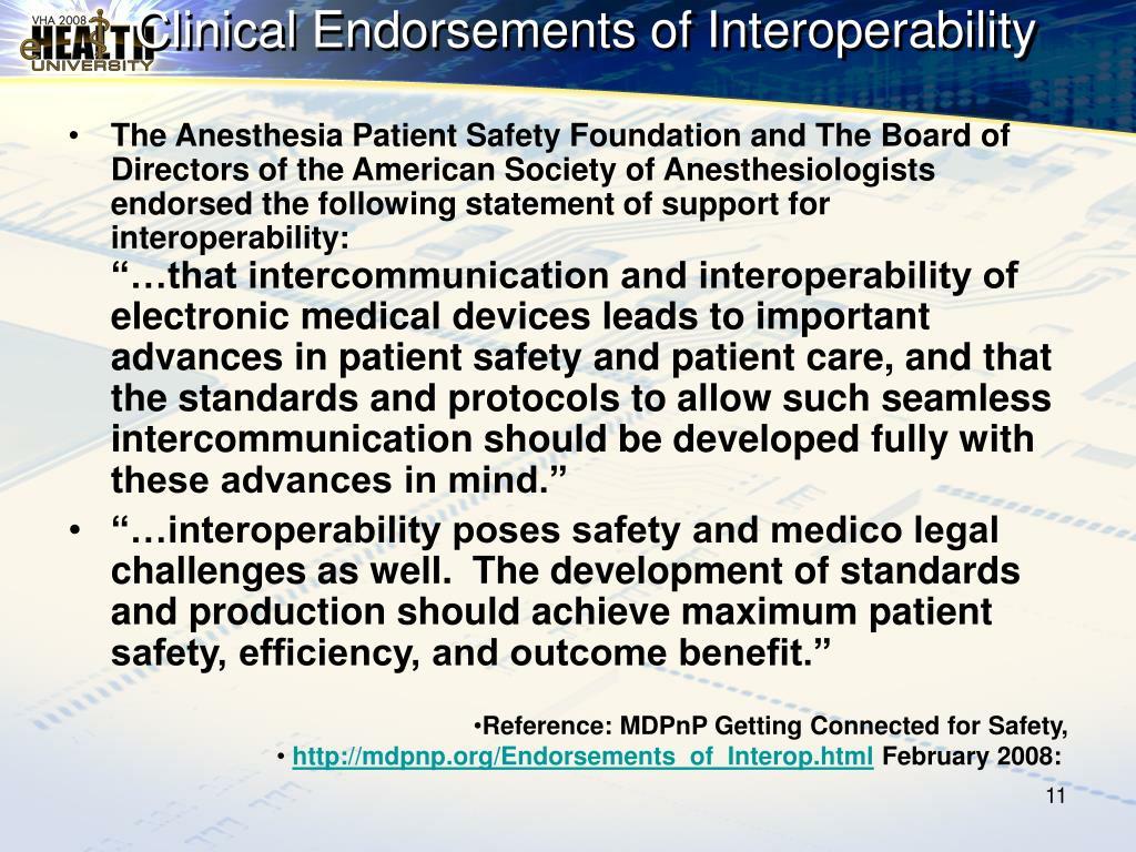 Clinical Endorsements of Interoperability