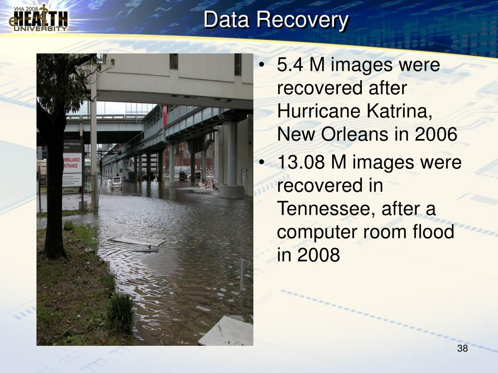 5.4 M images were recovered after Hurricane Katrina, New Orleans in 2006