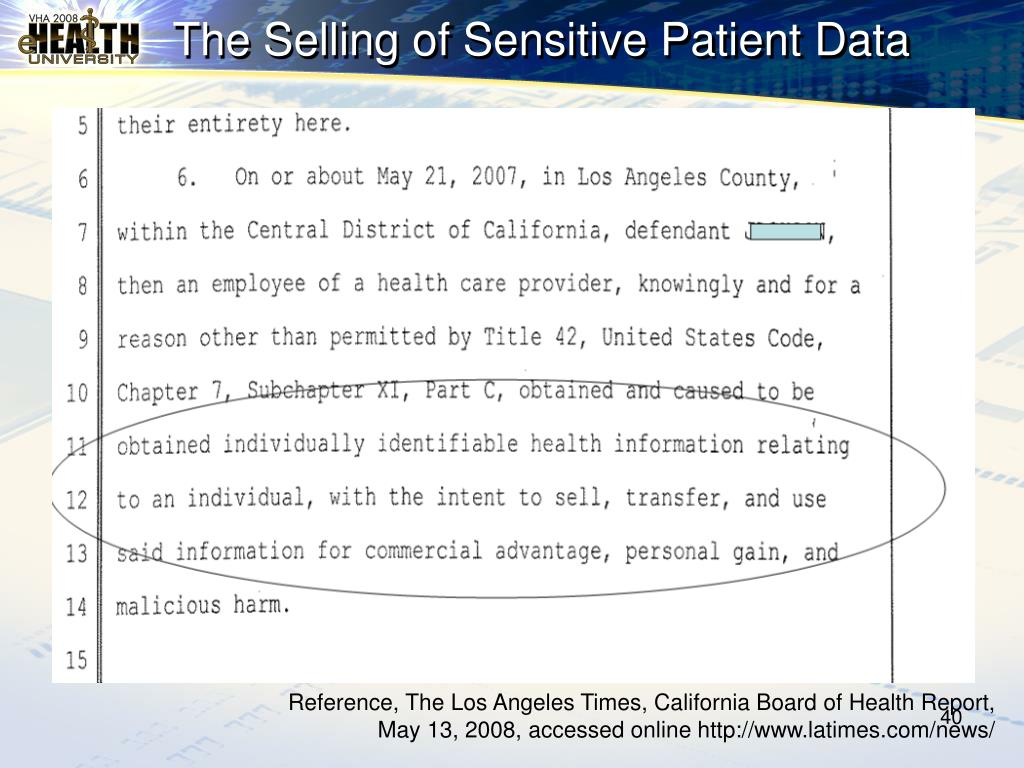The Selling of Sensitive Patient Data