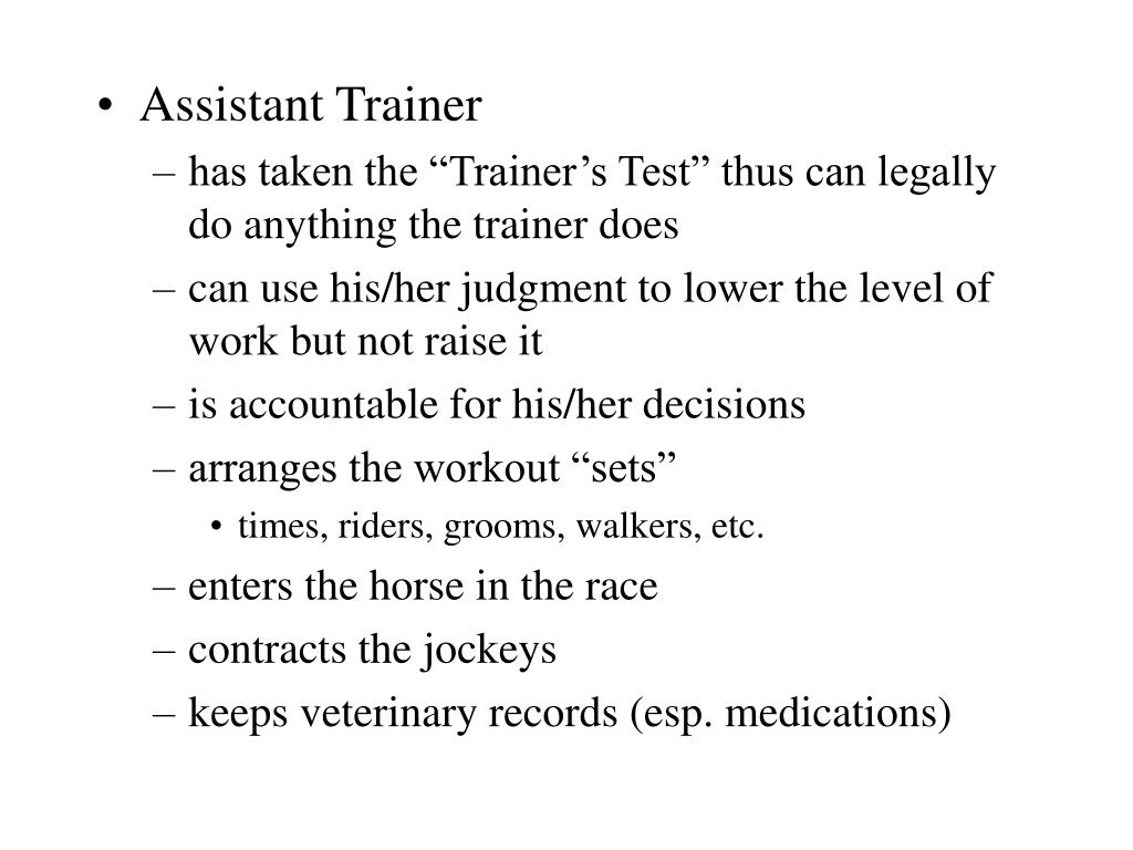 Assistant Trainer