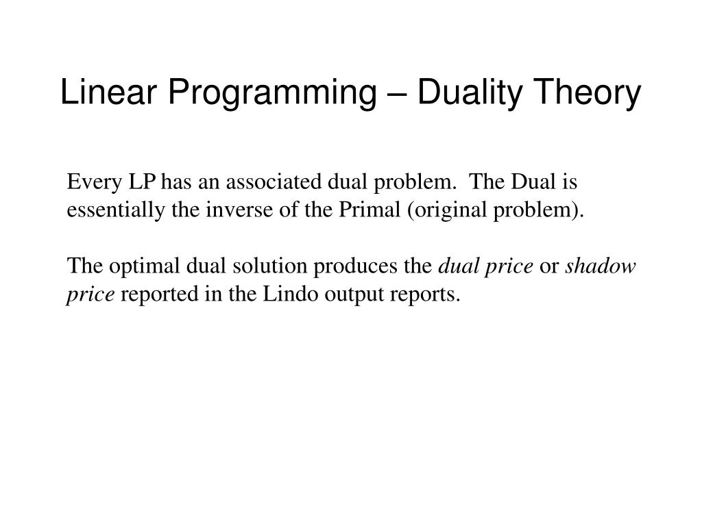 Linear Programming – Duality Theory