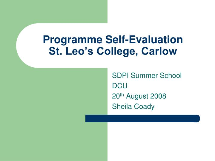 Programme self evaluation st leo s college carlow l.jpg