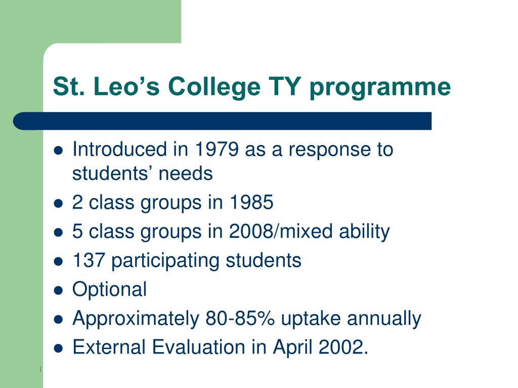 St. Leo's College TY programme