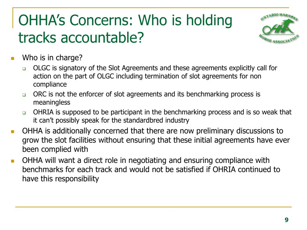 OHHA's Concerns: Who is holding tracks accountable?