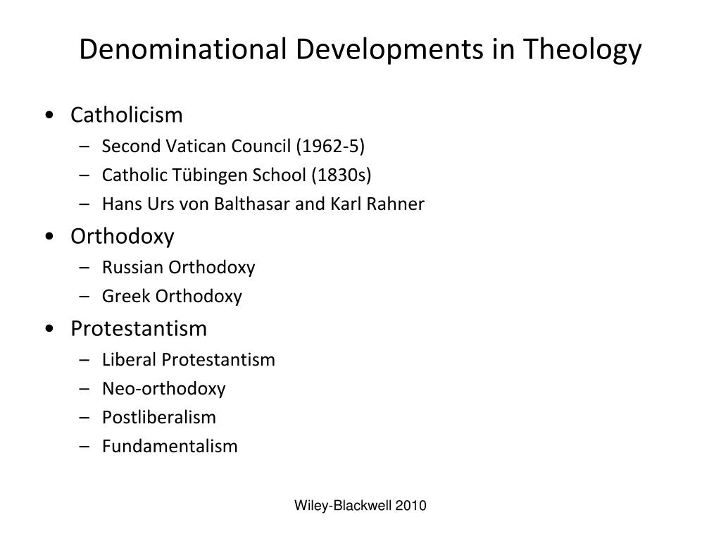 Denominational Developments in Theology