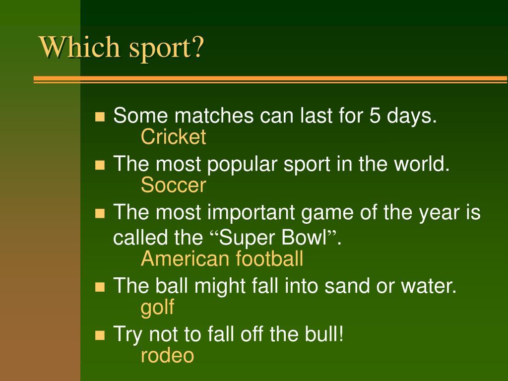 Which sport?