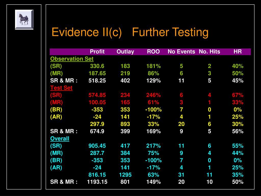 Evidence II(c)   Further Testing