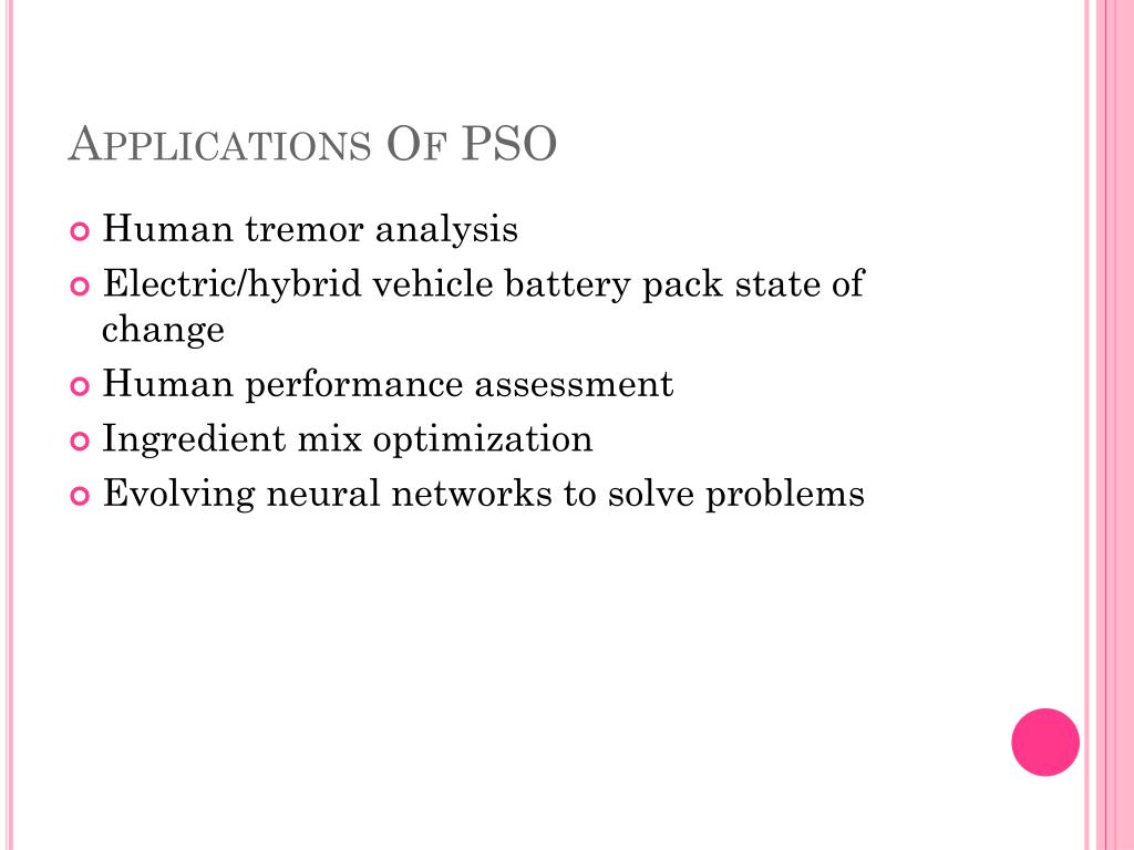 Applications Of PSO