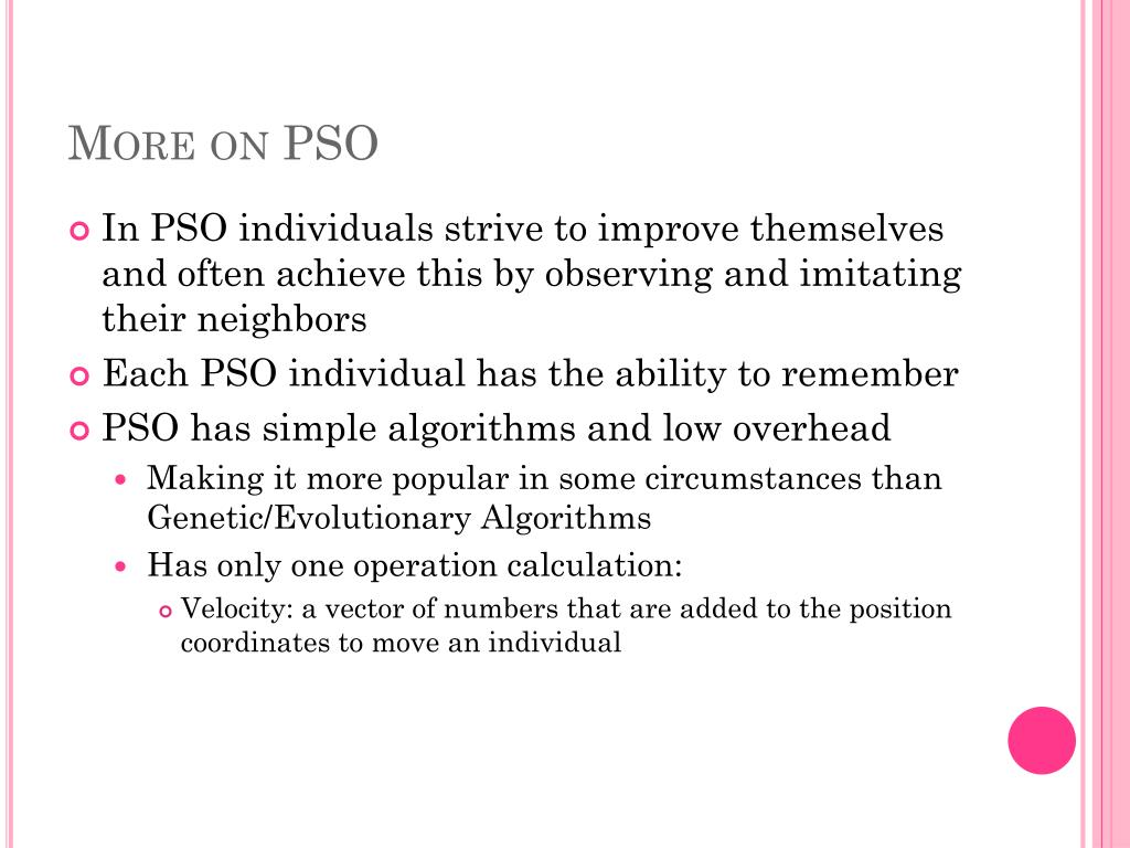 More on PSO