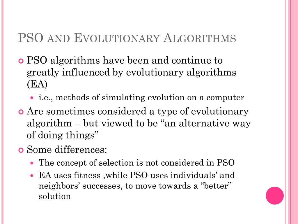 PSO and Evolutionary Algorithms