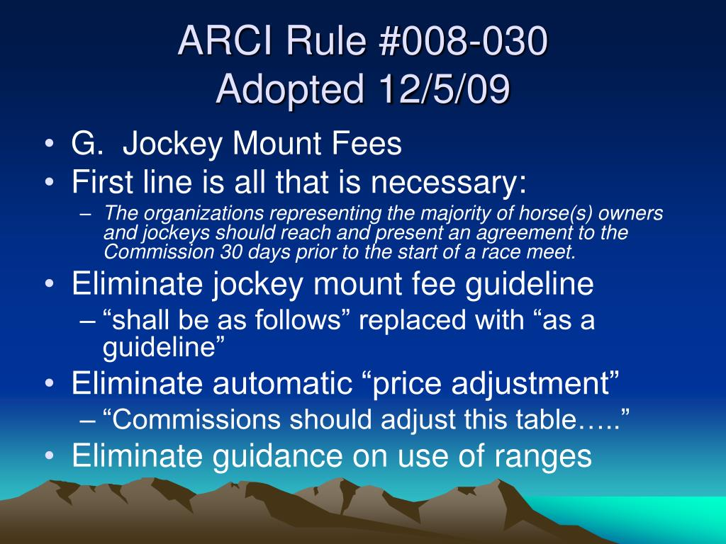ARCI Rule #008-030