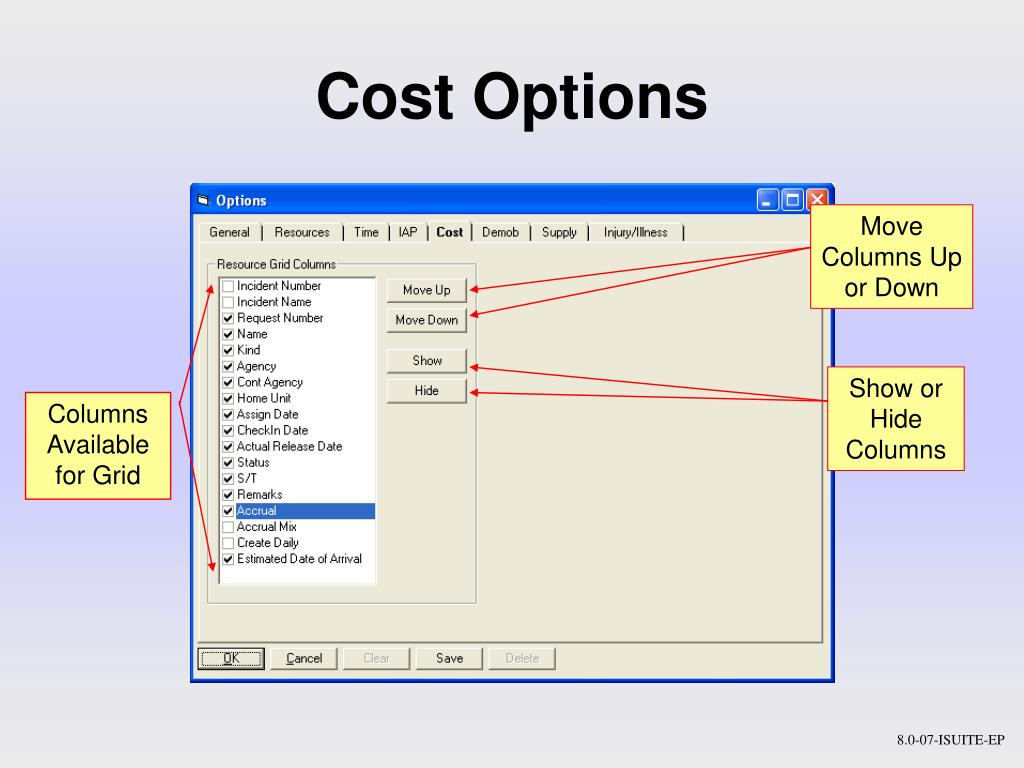 Cost Options