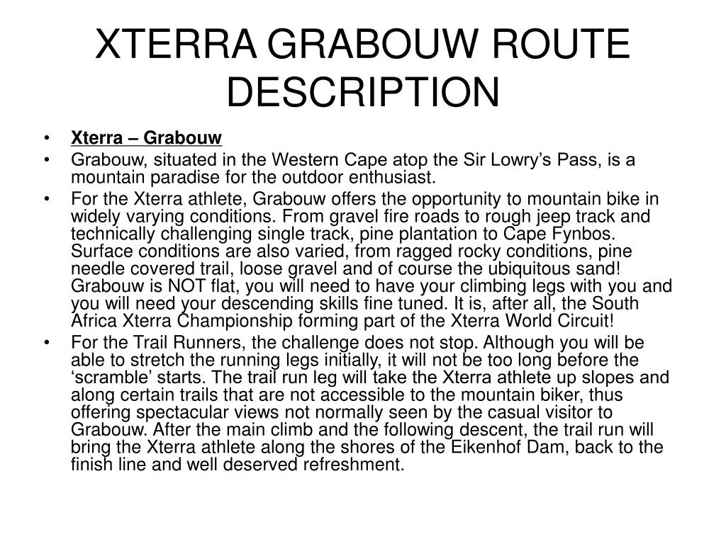 XTERRA GRABOUW ROUTE DESCRIPTION