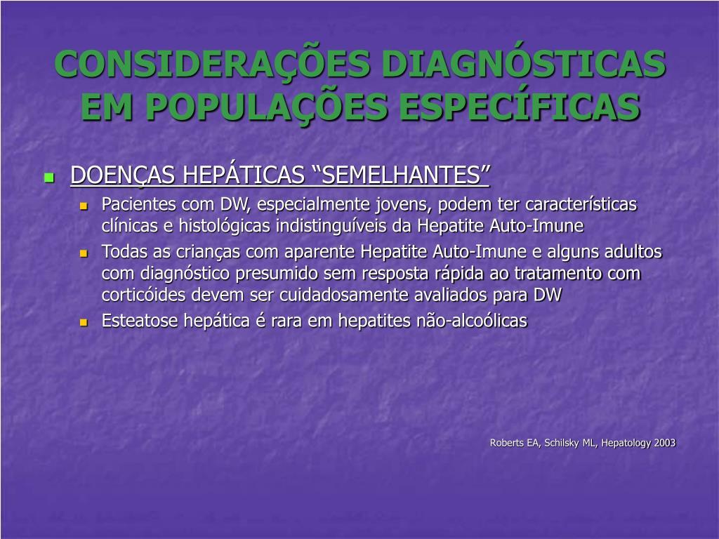 CONSIDERAÇÕES DIAGNÓSTICAS EM POPULAÇÕES ESPECÍFICAS