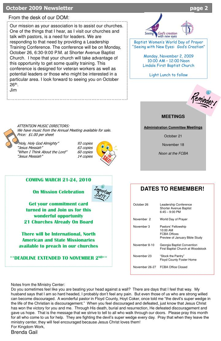 October 2009 Newsletter			                                page 2